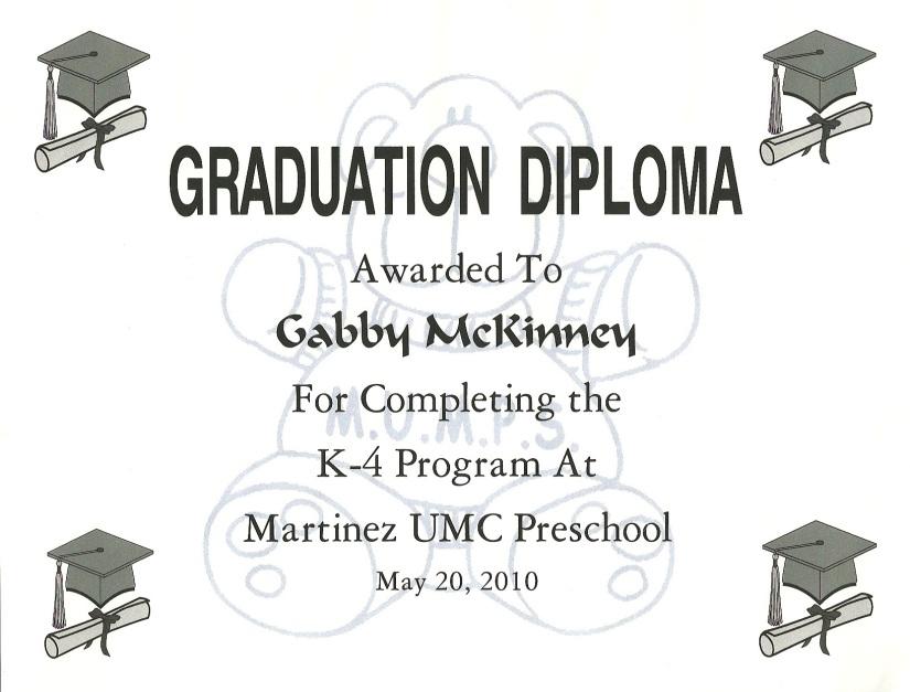 Gabby's K4 GraduationDiploma