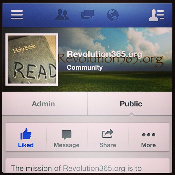 "Thanks for the page ""Likes"" at Facebook.com/Rev365 #biblestudy  #teamJesus #readyourBible #Bible #picoftheday"