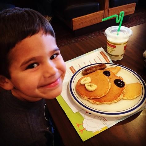 Evan's pre-soccer breakfast. #piggypancakes #meetthemckinneys