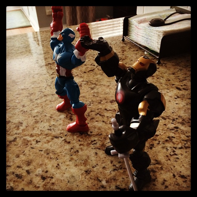 The kids have super hero mashers doing praise and worship. Too funny! #meetthemckinneys #believe